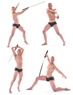 Shimuzu's series of Michael 5 Poses continues with a collection of sword poses. This collection contains 25 poses for Michael 5 based on model pose techniques on how to create the best angles through form. Body Reference Poses, Human Reference, Pose Reference Photo, Anatomy Reference, Art Poses, Drawing Poses, Drawing Tips, Drawing Ideas, Sword Poses