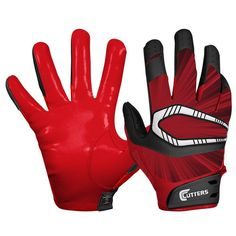 Cutters Rev Pro C-Tack Football Gloves, Black/Red S450-05