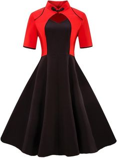 NAME YOUR OWN PRICE -Sisjuly women dress patchwork short sleeve sweetheart red black dress chinese style elegant female 2018 women's vintage dress Robes Vintage, Vintage 1950s Dresses, Retro Dress, Vintage Outfits, Vintage Fashion, 60s Dresses, Skater Dresses, 50s Vintage, 1950s Fashion