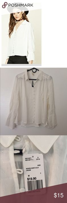 Forever21 Embroidered bell sleeve shirt New with tags. Beautiful shirt. Size medium, color cream Forever 21 Tops Blouses