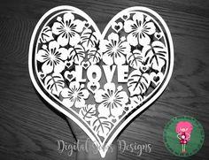 Love Heart Valentine Papercut Template SVG / DXF por DigitalGems
