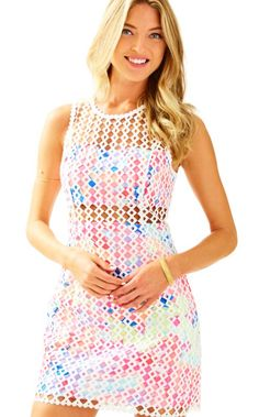 4147fae22ac546 The Dee Shift is a lace shift with a printed lining and see-through  details. Lilly Pulitzer