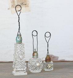 Embellished photo holder from single salt shaker - I see old salt shakers at flea markets quite often.  #DIY