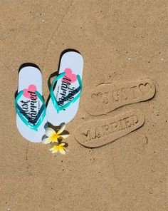 27683346bf3e1a Just Married Flip Flops - Bridal Shower gift ideas - Let your love s foot  prints on