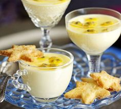 Passion Fruit Pots with Coconut Stars Recipe Desserts In A Glass, Just Desserts, Dessert Recipes, Bbc Good Food Recipes, Sweet Recipes, Cooking Recipes, Posset Recipe, Coconut Biscuits, Mousse