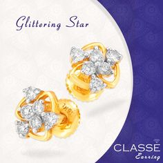 Glittering star...! Classe  #Diamond #Jewellery #Gold #earring Gold Diamond Earrings, Diamond Jewellery, Glitter Stars, Jewels, Engagement Rings, Collection, Enagement Rings, Diamond Jewelry, Wedding Rings