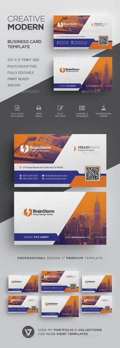 Creative Business Card Template by verazo Need more high quality business card? View my Business Card Templates Collection OR Save Money! Buy Business Card Bundle for only High Quality Business Cards, Make Business Cards, Modern Business Cards, Creative Business, Corporate Business, Business Card Template Photoshop, Direct Mail Design, Print Templates, Card Templates