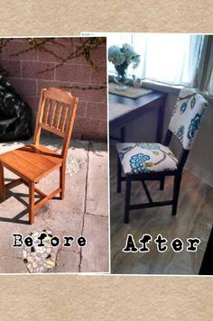 Before And After Of An Ikea Chair Simple To Do Upholstered Dining Room Chairs