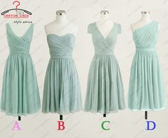 Mint prom dress party dress short mint bridesmaid by chiffonlikes, $79.00