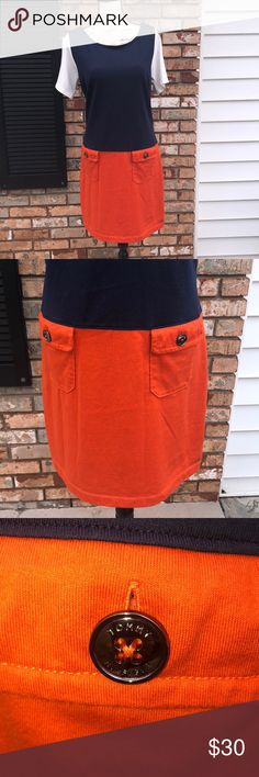 "Tommy Hilfiger dress nwot Measurements are approximate and taken laying flat  Pit to pit 19"" Pit to bottom hem 26 1/2"" 100% cotton. Colors are orange navy and white Tommy Hilfiger Dresses"