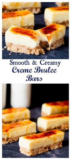 These Crème Brulee Bars are smooth, creamy and delicious - with a biscuit base and a crunchy sugar topping.might work for Max's grille crime brûlée pie in baca ration, fl Easy Desserts, Delicious Desserts, Dessert Recipes, Yummy Food, Sweet Bar, Sweet Sweet, Classic Desserts, Dessert Bars, Sweet Recipes