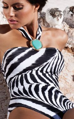 my new fabulous zebra bathing suit with a perfect little turquoise accoutrement