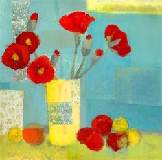 GreenBox Art 'Poppies in Yellow Vase' by Laurie Breen Painting Print on Wrapped Canvas Size: Framed Art Prints, Painting Prints, Abstract Paintings, Painting Art, Abstract Art, Yellow Vase, Contemporary Wall Art, Arte Floral, Mellow Yellow