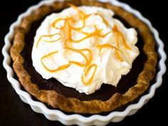 A pie inspired by foil-wrapped chocolate oranges.