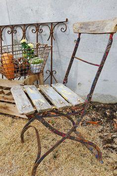 French antique folding garden chair