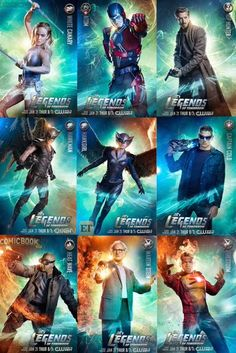 Legends assemble… #ATOM #WhiteCanary #Hawkgirl #Hawkman #Firestorm #Stein #CaptainCold #Heatwave #RipHunter  DC's Legends of tomorrow posters