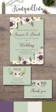 Mint and Purple Wedding Invitation Printable, Floral Wedding Invitation Suite, Anemone Wedding Invites, Modern and elegant wedding stationery, Boho Wedding Invitation - pinned by pin4etsy.com