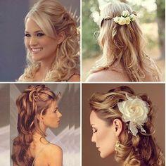Para aquelas que vai casar com o cabelo meio solto, olha essas inspirações que vi no ig @dilemas_de_uma_noiva #diariodanoiva_ba #noiva #penteadodenoiva #hair#make#noivasdesalvador#casamento #casamentonapraia #casamentonocampo
