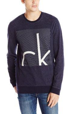 Calvin Klein Jeans Men's Liner Box Crew Neck Sweatshirt, Midnight Indigo, X-Large ❤ Calvin Klein Jeans Men's Collection