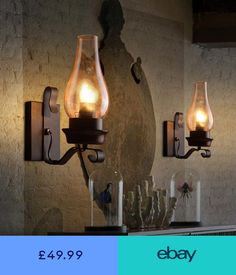 Industrial Vintage Wall Lamp Retro Loft Iron Wall Lights Sconce Lamp Fixture New Rustic Wall Lighting, Industrial Wall Lights, Rustic Wall Sconces, Outdoor Wall Sconce, Wall Sconce Lighting, Vintage Lighting, Industrial Shelving, Outdoor Lighting, Sconces Living Room
