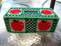 Ready to ship FREE Apple Tissue Box Cover by cecrafts on Etsy, $10.00