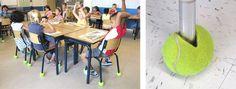 tennisballen als geluidsdempers onder stoelpoten