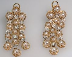 Pearl & Diamond Princess Earrings by FernandoJewelry on Etsy, $3700.00