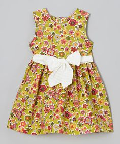 This Yellow Floral A-Line Dress - Toddler & Girls by Anna Bouché is perfect! #zulilyfinds