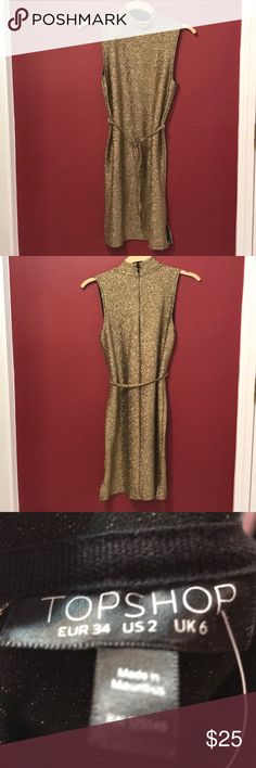 🎉🎉NWT TOPSHOP Perfect News Years Dress Gold glitter sleeveless dress with belt at waist. Back zip and a slit on each side. Topshop Dresses