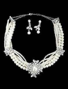 Luxurious Silver Rhinestone Pearl Wedding Jewelry Set - Wedding Jewelry - Accessories