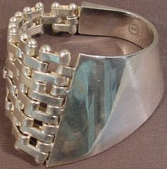 Vintage Taxco Sterling Silver Modernist Solid Cuff Bracelet Very Unique 83grams   #theforeignarchives #inspo