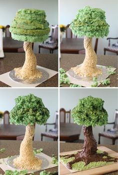Tree Cake - The treetop is angel food cake, dyed green, then accented with gel food coloring. The trunk is rice krispie treats covered in a mixture of melted chocolate and chocolate frosting. More in-depth details on the making can be found on my blog at http://milkandcerealblog.wordpress.com/2013/05/31/wolftree-cake-show-tell/
