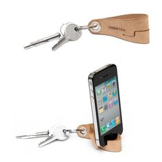 Leather Keyring iPhone Stand http://stuffyoushouldhave.com/leather-keyring-iphone-stand/