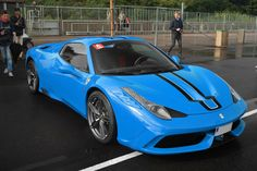 Ferrari 458 Speciale Aperta painted in Azzurro Dino w/ Black and White central racing stripes  Photo taken by: Unknown on Facebook