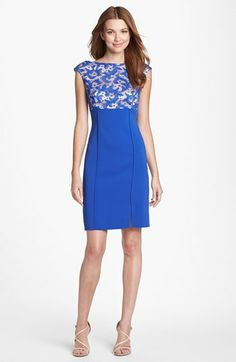 Kay Unger Lace Bodice Seamed Sheath Dress available at #Nordstrom
