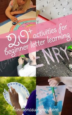 The very beginning stage of learning to read starts with learning letters. 20 Activities to Start Learning Letters. Preschool Literacy, Literacy Activities, Educational Activities, Preschool Activities, Kindergarten, Preschool Names, Children Activities, Early Literacy, Learning Time