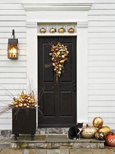 Idea for front door; fall planter/pumpkins; door header and side trim