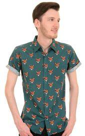Mens Run & Fly Kitsch 50s 60s Retro Foxy Short Sleeve Shirt