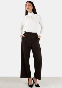 Black Wide leg Trouser With Cuff Hem