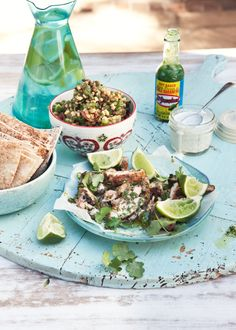 What Katie Ate  Couscous with harissa chicken, chargrilled zucchini  and crunchy, nutty salad, yoghurt drizzle