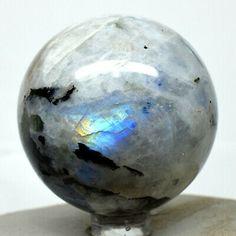"(eBay)(Sponsored) 2.1"" Sparkling Rainbow Moonstone Sphere Gemstone Crystal Mineral - India + Stand Crystals Minerals, Rainbow Moonstone, Fossils, Rocks, Presents, Sparkle, India, Gemstones, Jewels"