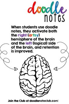 Home - Doodle Note Club Left Vs Right Brain, Brain Based Learning, Math Notes, Tools For Teaching, Secondary Math, Content Area, Education Quotes, Physical Education, Brain Activities