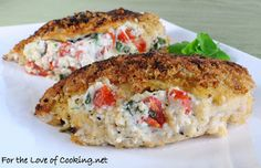 Panko Crusted Chicken Stuffed with Ricotta, Spinach, Tomatoes & Basil {recipe by For The Love of Cooking}
