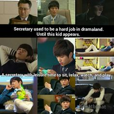 Puhahaha!! I've watched all these other secretaries and I must say Secretary Gil is clearly more dongsaeng than secretary!lol Myungsoo in Cunning Single Lady