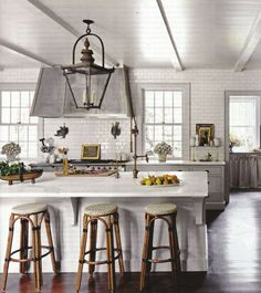 kitchenlantern by alissa_thegoods, via Flickr/ painted cabinets with white island