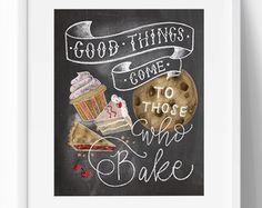 Kitchen Decor - Kitchen Chalkboard Art - Gift for the Baker - Baking Art - Kitchen Art - Illustration Print - For the Bakery - Bakery Art Chalkboard Wall Art, Kitchen Chalkboard, Chalkboard Lettering, Chalkboard Designs, Chalkboard Wallpaper, Chalkboard Drawings, Chalk It Up, Chalk Art, Kitchen Humor