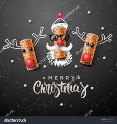 Christmas Characters, Santa Claus And Reindeer, Made From Wine Cork, Art And Craft Christmas Decoration, Vector Illustration. - 342422750 : Shutterstock