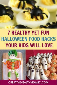 Get ready for Halloween with these 7 coolest Halloween healthy fun food hacks for kids and adults too. #halloween #fun #hacks #funfood #kids My Recipes, Holiday Recipes, Real Food Recipes, Healthy Recipes, Healthy Baking, Healthy Kids, Free Recipes, Healthy Halloween, Halloween Fun