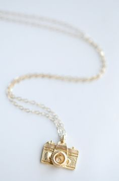 Gold Camera Necklace - gift for photographers - also available in sterling silver. Simple everyday minimalist jewelry by Belleza Mia Jewelry. Perfect for photographer mom