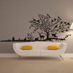 $7.09 Fashion Animals Jungle Pattern Background Wall Sticker For Bedroom Livingroom Decoration